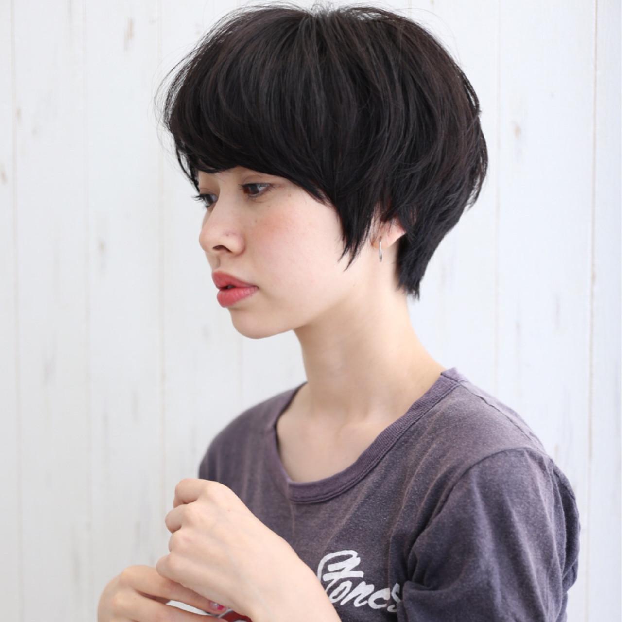 髪型 ショート パーマなし 黒髪