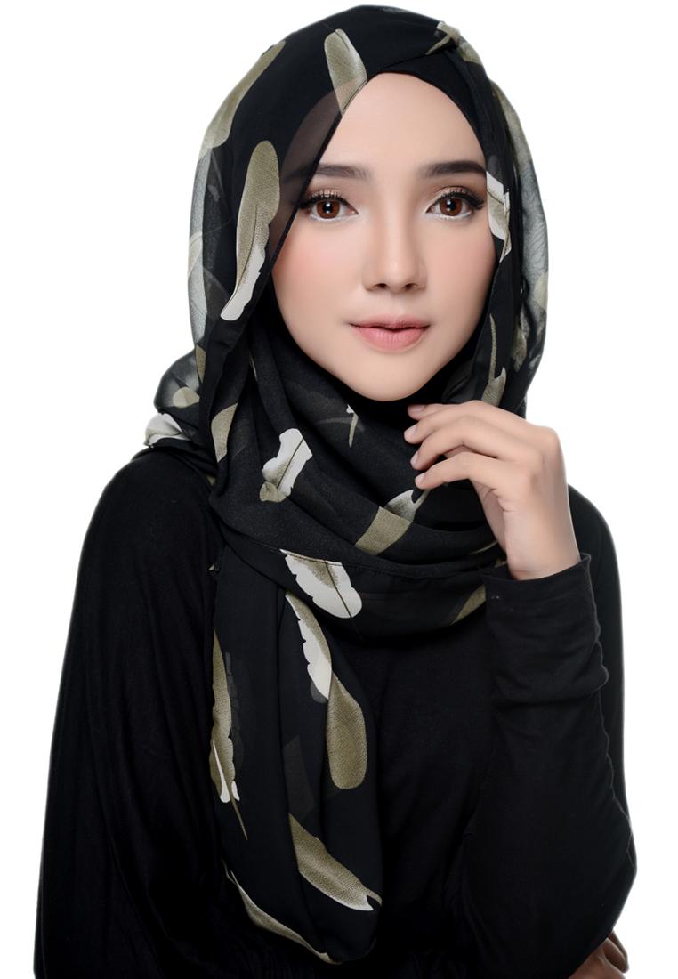 Diindri Hijab Pashmina Black Feathers