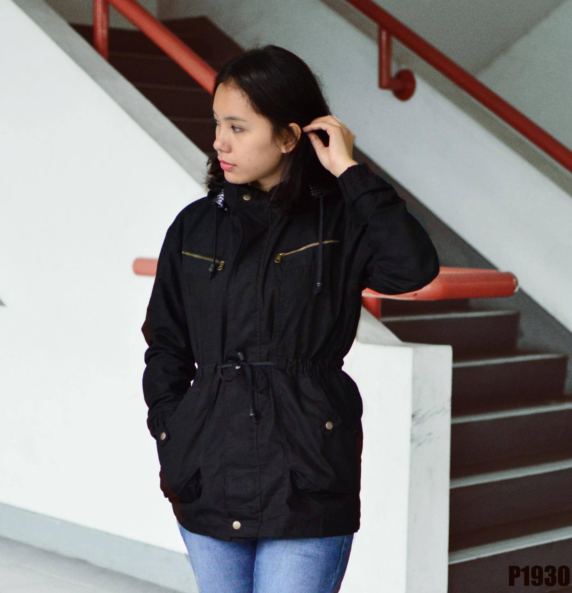 Km 24 Cloth Shop Line Jaket Parka Wanita Warna Merah Maroon Hitam