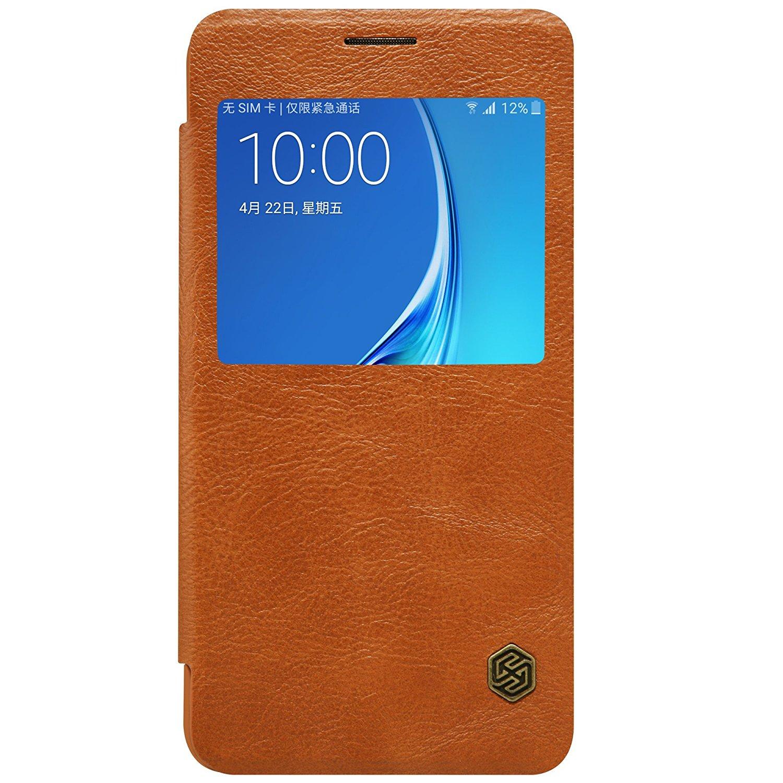 Nillkin Qin View Leather Flip Case Samsung Galaxy J5 2016 Casing Cover - Cokelat