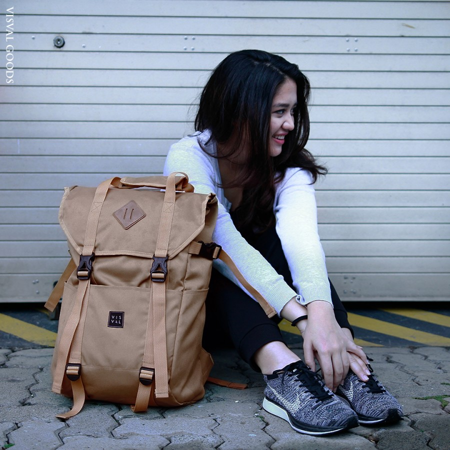 Pria Ganteng Shop Line Tas Ransel Selempang Cross Body Bag Kulit  Pulcher Zayn Black Zoom Khaki Backpack Visval Cowok Cewek