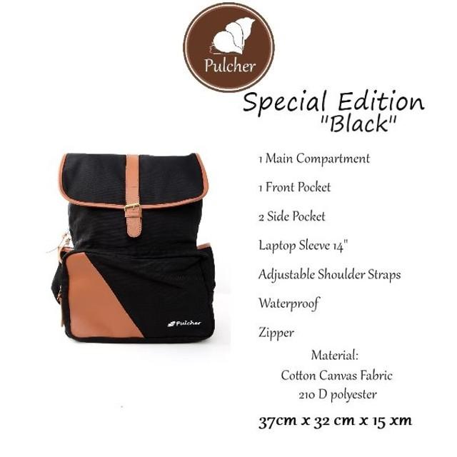 Ransel Sekolah/Laptop - Pulcher Special Edition Black: Rp 212.000