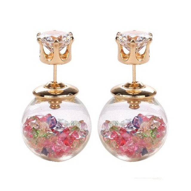 Anting Stud Korean Double Side Crystal Multicolour: Rp 29.900: 품절