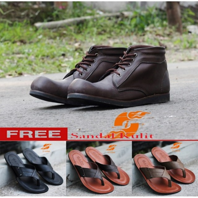D-Island Shoes Boots Cowboy Mans Leather Dark Brown: Rp 399.000