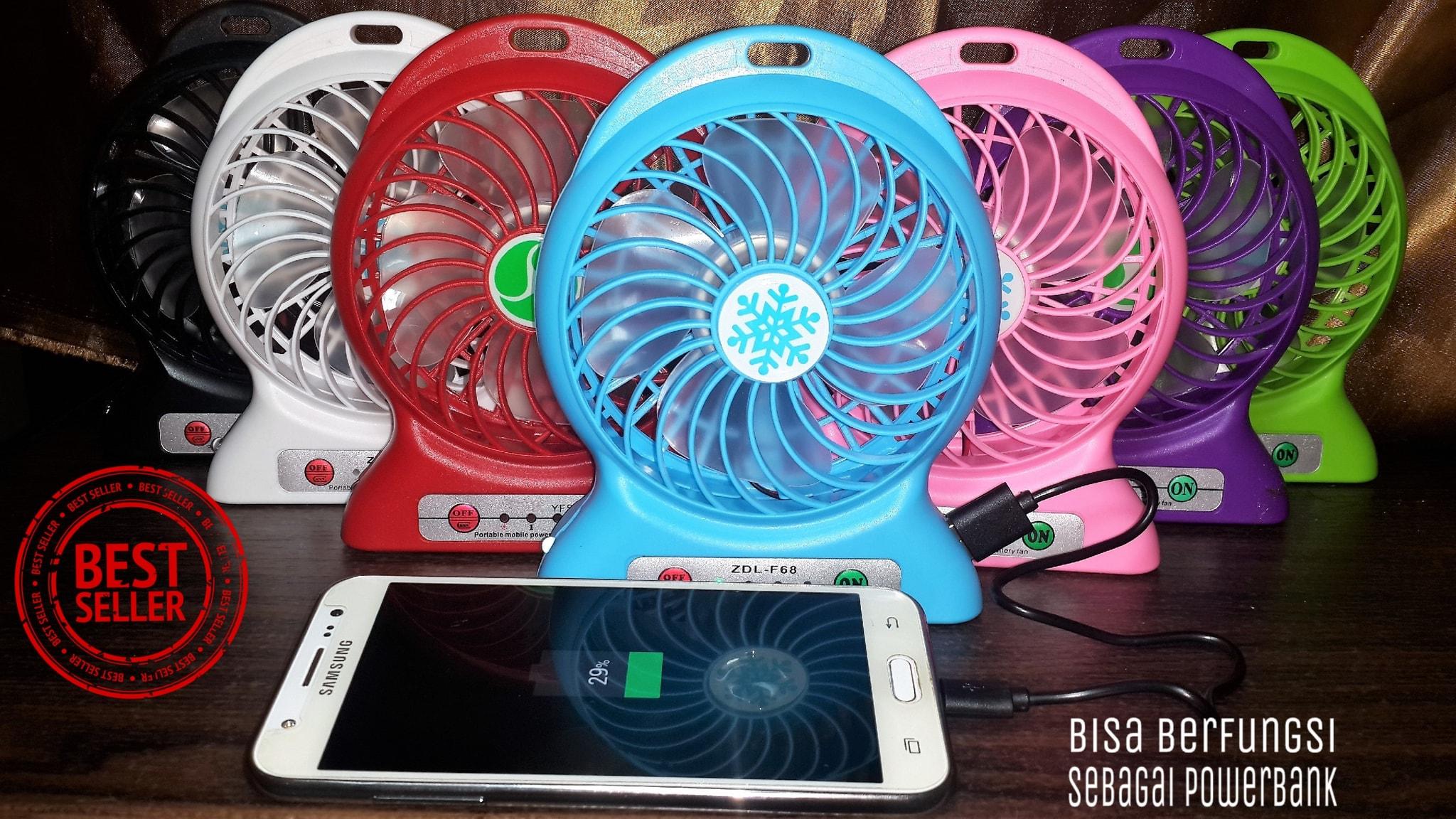Junotshop Shop Line Kipas Angin Usb Mini Fan Powerbank Recharger Baterai 18650