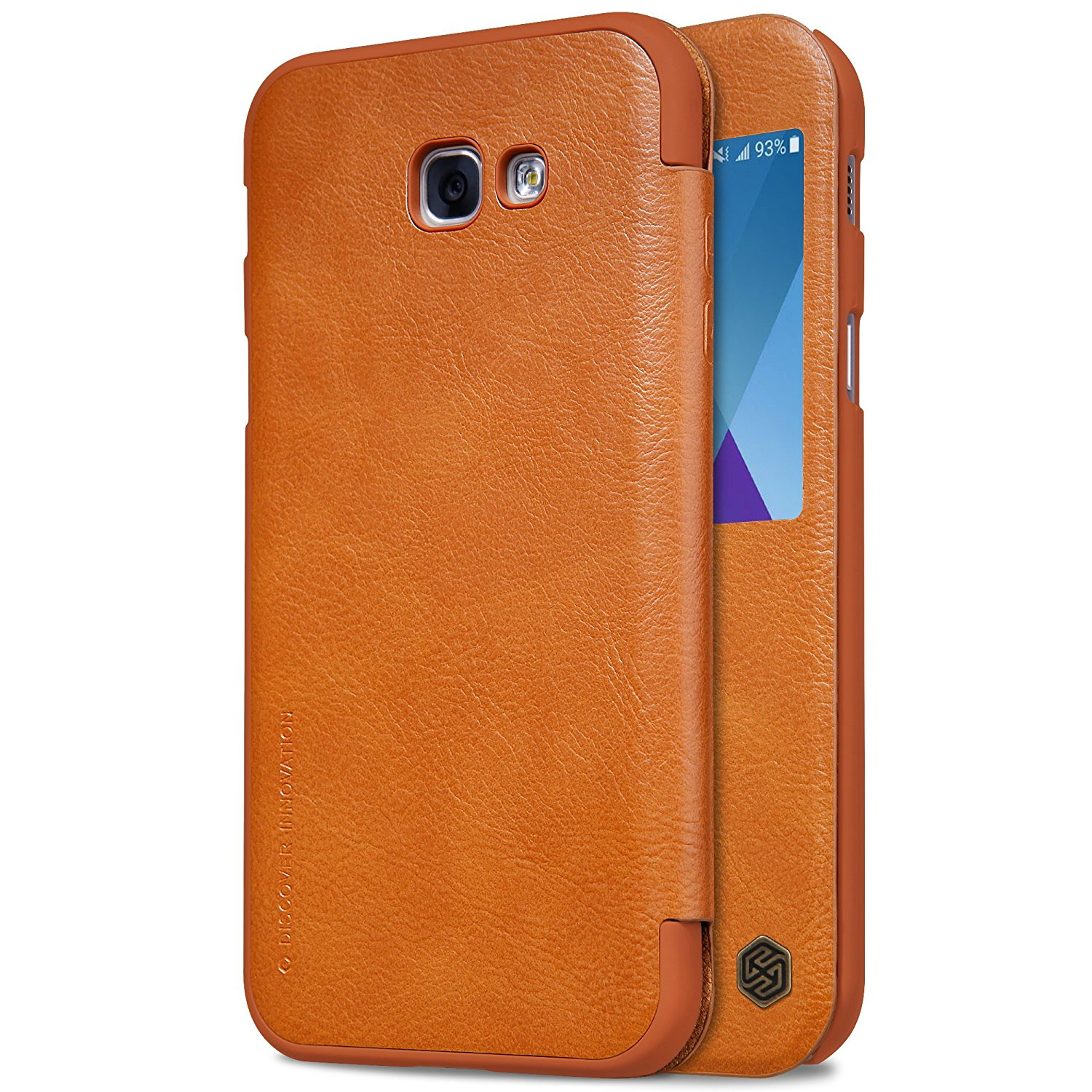 Nillkin Qin View Leather Case for Samsung Galaxy A5 2017 Casing Cover - Cokelat