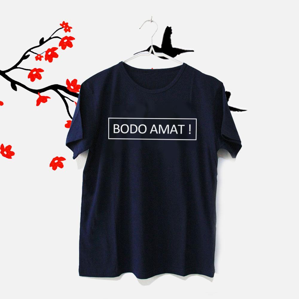 Tumblr Tee / T-Shirt / Kaos Wanita Lengan Pendek Bodo Amat Warna Navy