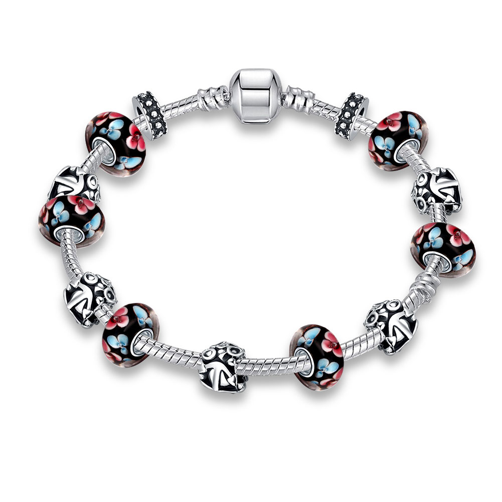 Bella Co Charm Bracelet With Beads And Murano Glass Pdrh009 B Tiaria Romantic Bangle Lkn18krgpz059 Aksesoris Gelang Lapis Emas Pdrh038 Perhiasan
