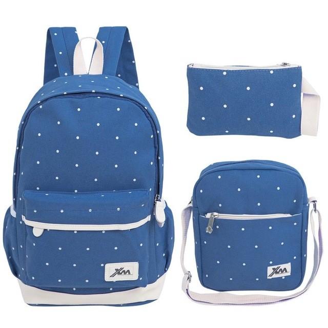 3 in 1 Backpack Set Polka   Tas Ransel   Tas Punggung Fashion - Light Blue 08c9e28216