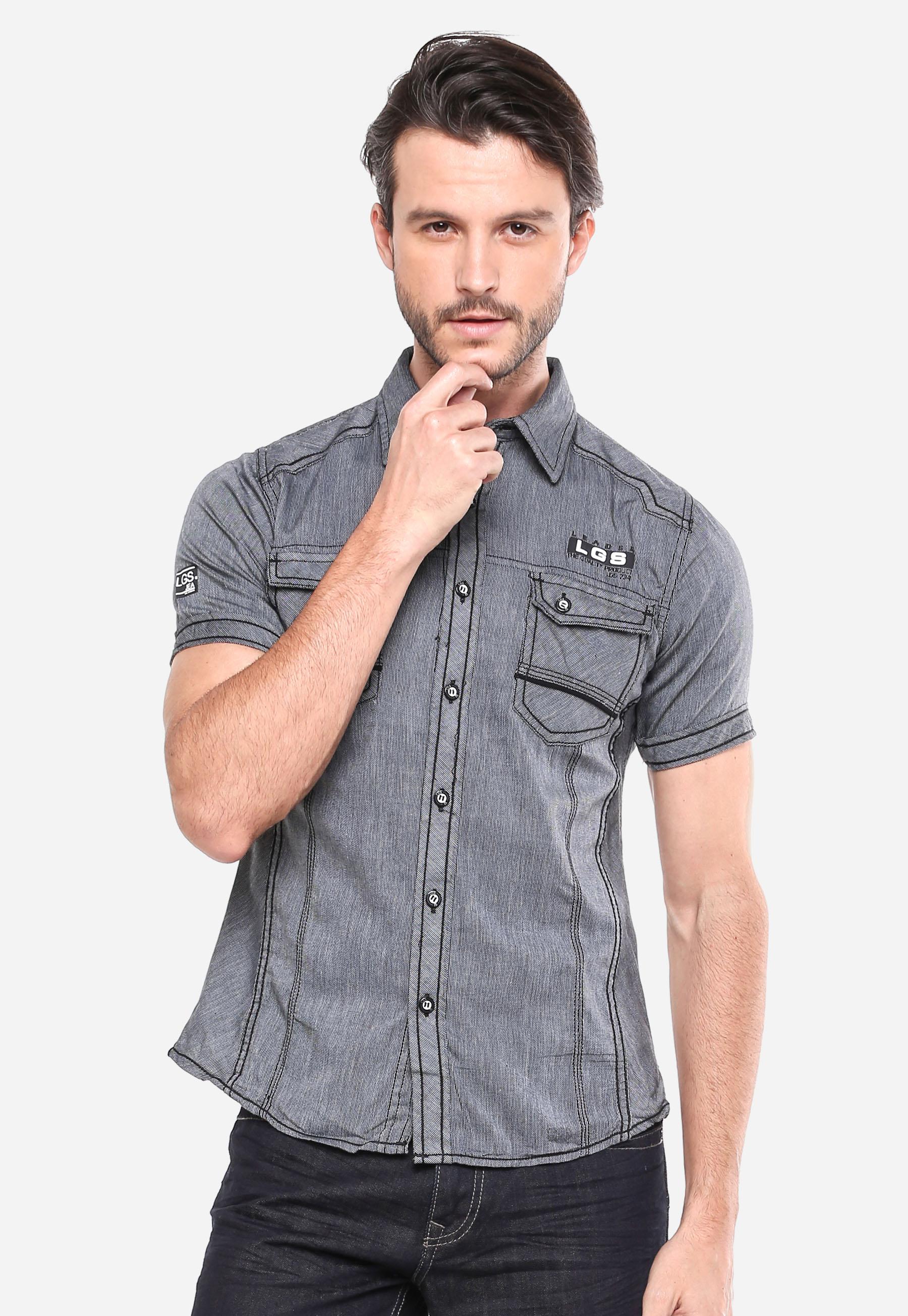 Lgsgeneration Shop Line Lgs Slim Fit Kaos Polo Biru Navy Garis Putih M Kemeja Fashion Abu Motif Halus