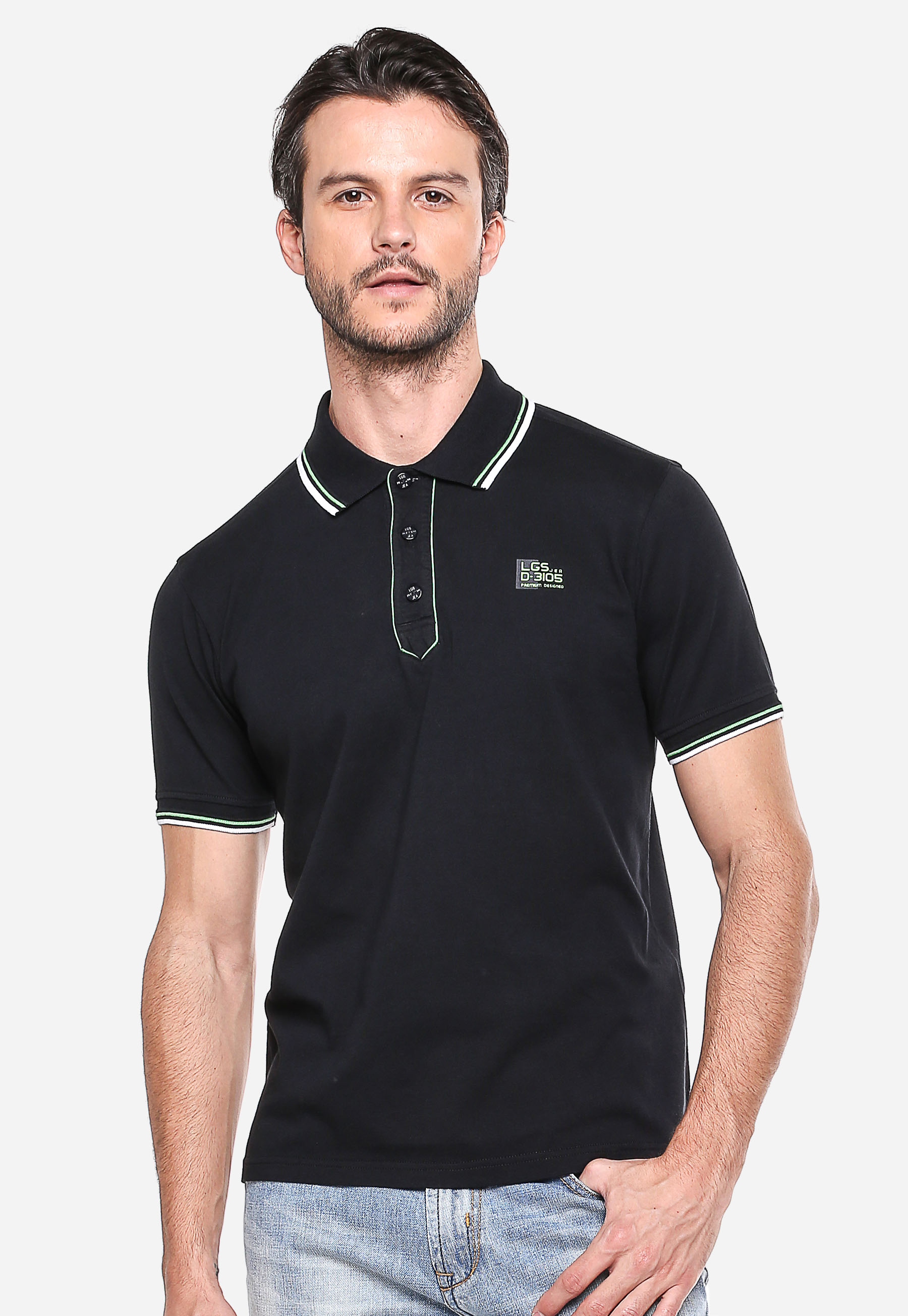 Lgsgeneration Shop Line Johnwin Slim Fit Kemeja Formal Lengan Panjang Abu Kaos Polo Hitam Garis Hijau Putih