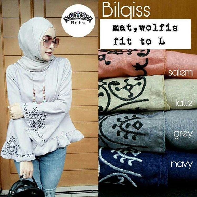 Blus Bilqiss Top Atasan Wanita Muslimah Baju Muslim Blouse Model Terbaru Kekinian Grosir Murah