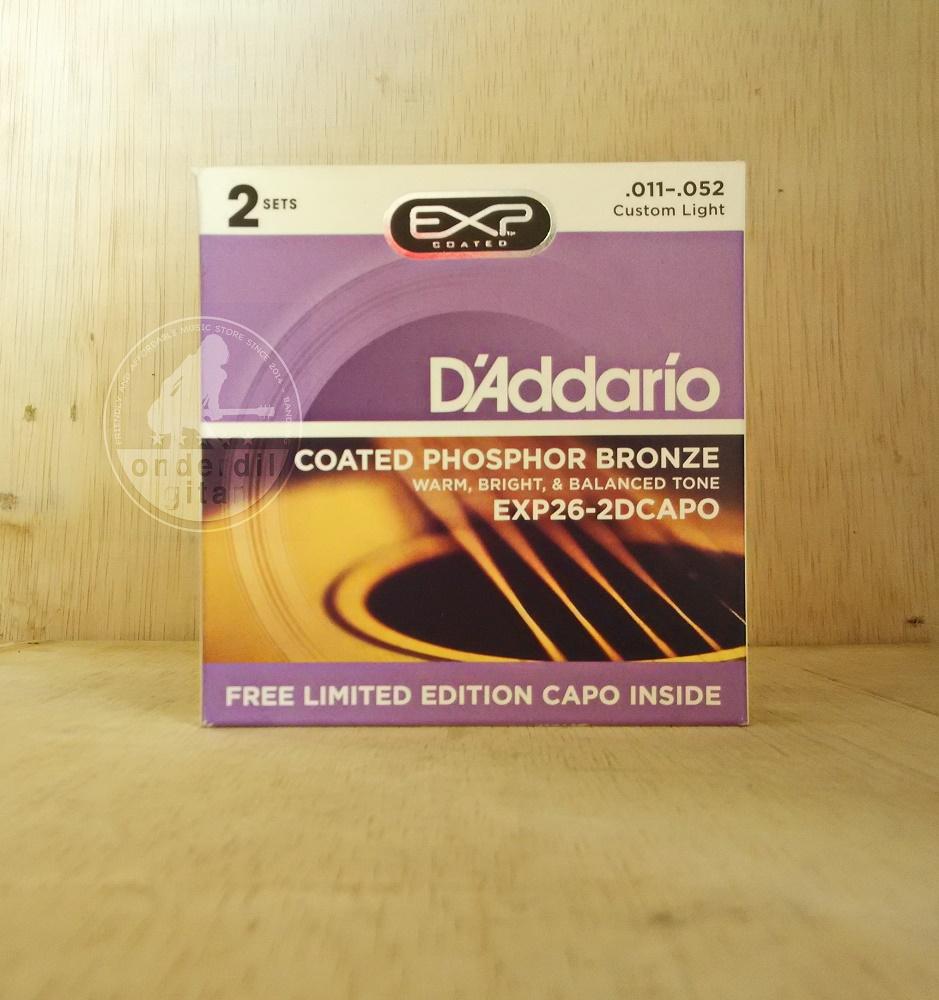 Onderdilgitar Shop Line Senar Gitar Daddario Akustik Elektrik Klasik Nylon Ukuran 011 Exp26 2 Set Bonus Capo