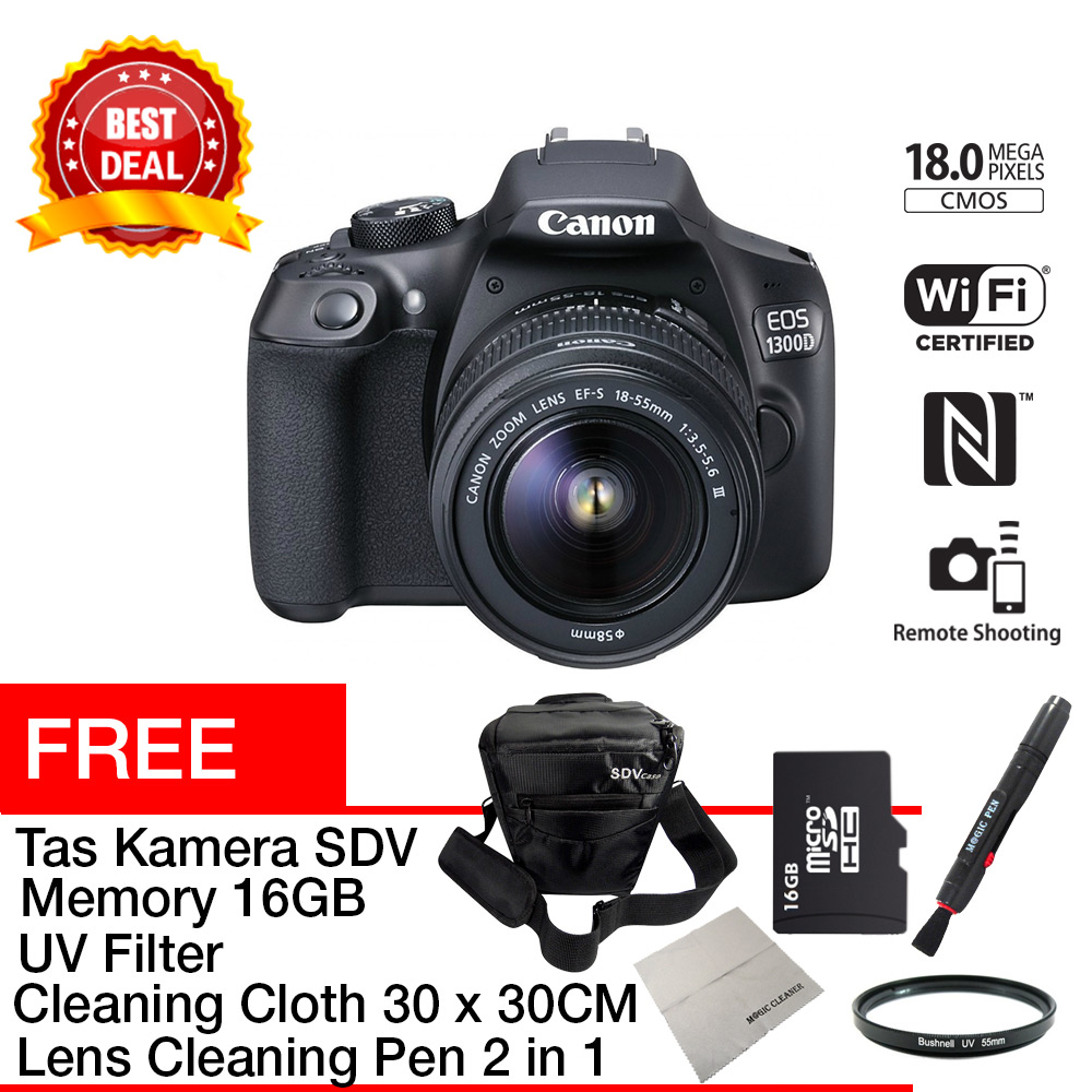 Rotamartcom Shop Line Canon Eos 1300d Kit 18 55 Iii Dslr Mp With Lens Mm Aksesoris Kamera