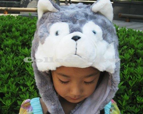 哈士奇毛帽 小狗造型帽 動物保暖帽 大人小孩都可戴