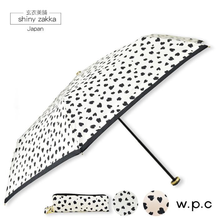 抗UV摺疊傘-日本品牌w.p.c晴雨折傘-斑點-白/粉-玄衣美舖