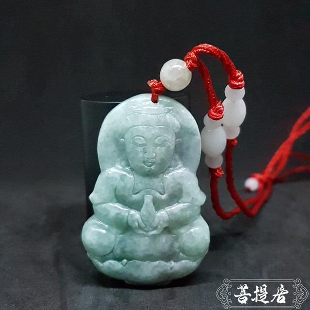 【菩提居】天然A貨翡翠寶瓶福祿觀音(xc58)