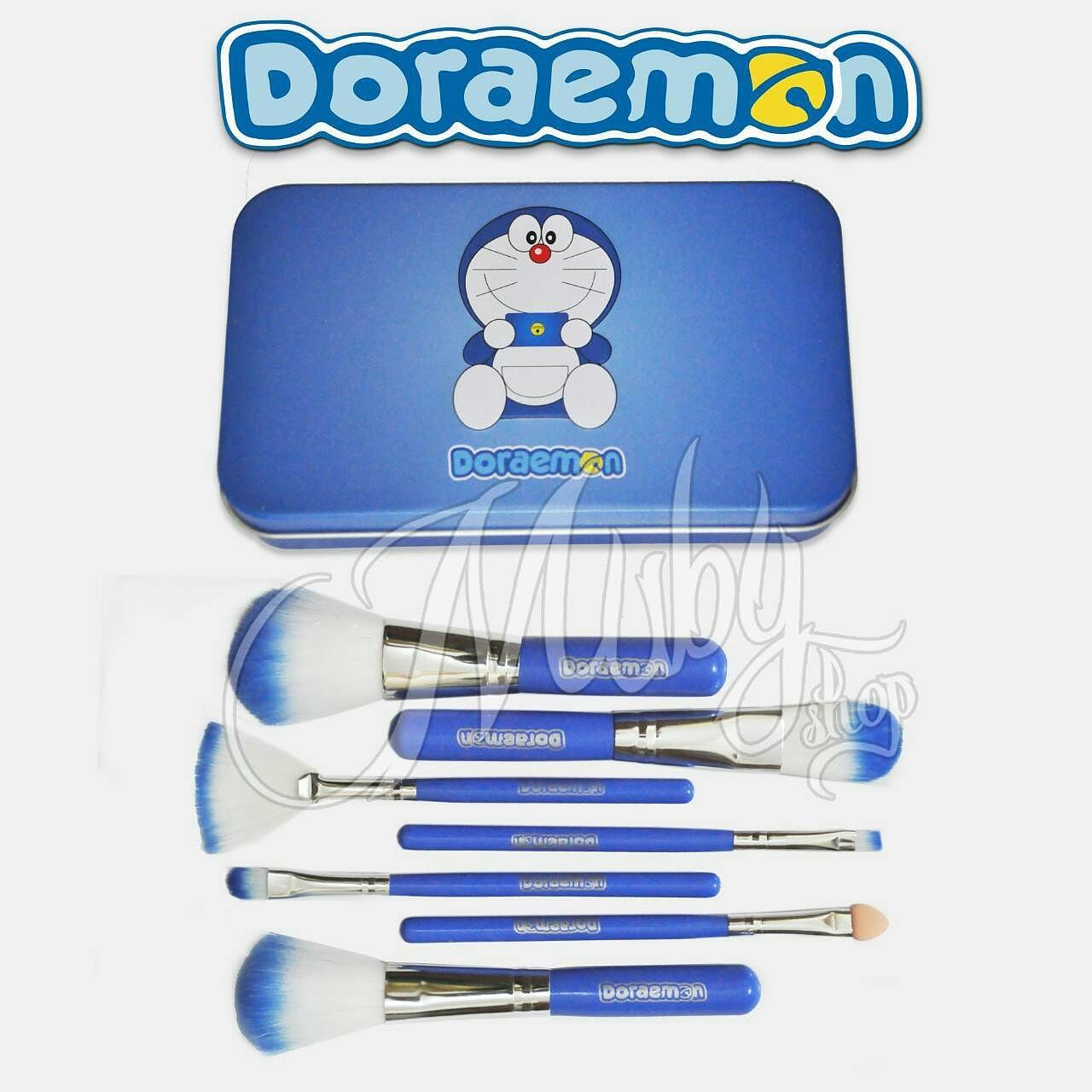 Mubyshop Shop Line Doraemon Brush Kaleng 7 In 1 Make Up Kuas 7pc