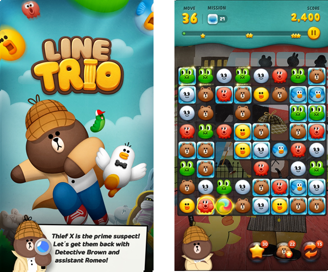 line game adventurous puzzle game line trio released line