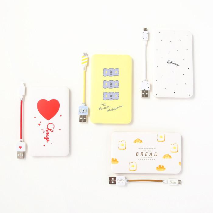b374c5eefc △3000mAhモバイルバッテリー(ハート、コアラ、Holiday、パン):各500円