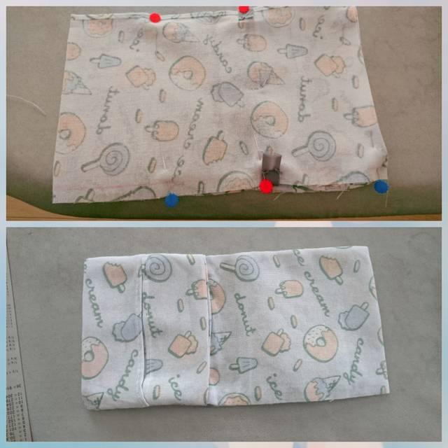 fb52f9e90734a 左から15~17cmのところにチロリアンテープを縫い付けます。チロリアンテープの長さは幅+3cm程度がおすすめ。両端と中央を並縫いで縫います。
