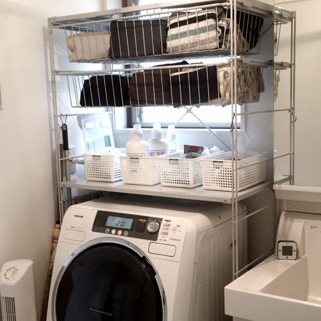 ランドリーラックで洗濯機上のスペースをつかう
